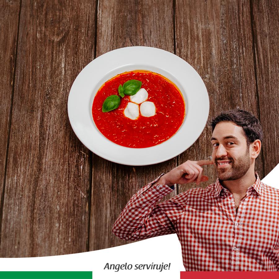 Polievka zpečených paradajok s mozzarellou